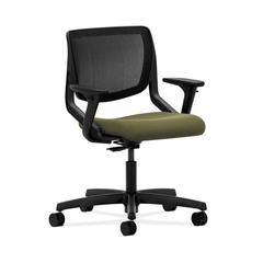 HON Motivate Task Chair | Black ilira-Stretch Back | Adjustable Arms | Olivine Fabric