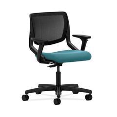 HON Motivate Task Chair | Black ilira-Stretch Back | Adjustable Arms | Glacier Fabric