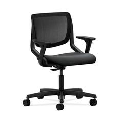 HON Motivate Task Chair | Black ilira-Stretch Back | Adjustable Arms | Onyx Fabric