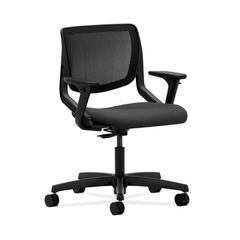 HON Motivate Task Chair | Black ilira-Stretch Back | Adjustable Arms | Charcoal Fabric