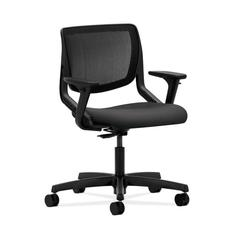 HON Motivate Task Chair | Black ilira-Stretch Back | Adjustable Arms | Carbon Fabric