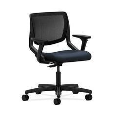 HON Motivate Task Chair   Black ilira-Stretch Back   Adjustable Arms   Navy Fabric