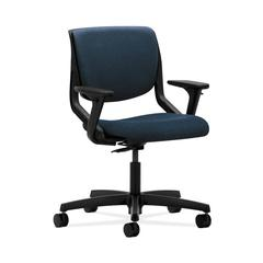 HON Motivate Task Chair | Upholstered Back | Adjustable Arms | Onyx Shell | Blue Fabric