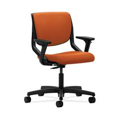 HON Motivate Task Chair | Upholstered Back | Adjustable Arms | Onyx Shell | Tangerine Fabric