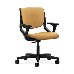 HON Motivate Task Chair | Upholstered Back | Adjustable Arms | Onyx Shell | Mustard Fabric