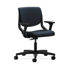 HON Motivate Task Chair | Upholstered Back | Adjustable Arms | Onyx Shell | Navy Fabric