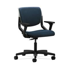 HON Motivate Task Chair | Upholstered Back | Adjustable Arms | Platinum Shell | Blue Fabric