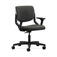 HON Motivate Task Chair | Upholstered Back | Adjustable Arms | Platinum Shell | Onyx Fabric