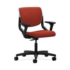 HON Motivate Task Chair | Upholstered Back | Adjustable Arms | Platinum Shell | Poppy Fabric