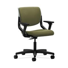 HON Motivate Task Chair | Upholstered Back | Adjustable Arms | Platinum Shell | Olivine Fabric