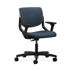 HON Motivate Task Chair | Upholstered Back | Adjustable Arms | Platinum Shell | Jet Fabric