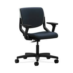 HON Motivate Task Chair | Upholstered Back | Adjustable Arms | Platinum Shell | Navy Fabric