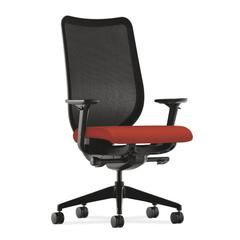 HON Nucleus Task Chair | Black ilira-Stretch Back | Synchro-Tilt, Seat Glide | Adjustable Arms | Poppy Fabric
