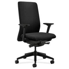 HON Nucleus Task Chair | Upholstered Back | Synchro-Tilt, Seat Glide | Adjustable Arms | Black Fabric