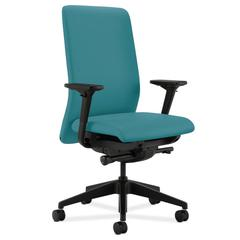 HON Nucleus Task Chair   Upholstered Back   Synchro-Tilt, Seat Glide   Adjustable Arms   Glacier Fabric