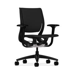 Purpose Mid-Back Chair | YouFit Flex Motion | Adjustable Arms | Onyx Shell | Black Base | Black Fabric