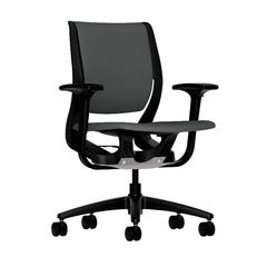 HON Purpose Mid-Back Chair | YouFit Flex Motion | Adjustable Arms | Onyx Shell | Black Base | Iron Ore Fabric