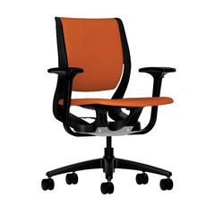 HON Purpose Mid-Back Chair | YouFit Flex Motion | Adjustable Arms | Onyx Shell | Black Base | Tangerine Fabric