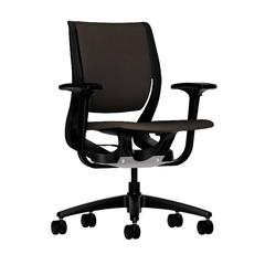 HON Purpose Mid-Back Chair | YouFit Flex Motion | Adjustable Arms | Onyx Shell | Black Base | Espresso Fabric