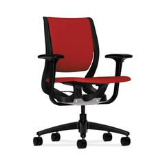 HON Purpose Mid-Back Chair | YouFit Flex Motion | Adjustable Arms | Onyx Shell | Black Base | Tomato Fabric