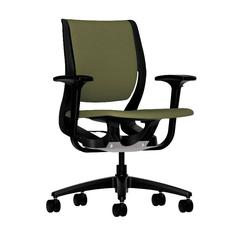 HON Purpose Mid-Back Chair | YouFit Flex Motion | Adjustable Arms | Onyx Shell | Black Base | Olivine Fabric
