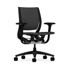 HON Purpose Mid-Back Chair | YouFit Flex Motion | Adjustable Arms | Onyx Shell | Black Base | Carbon Fabric