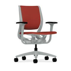 HON Purpose Mid-Back Chair | YouFit Flex Motion | Adjustable Arms | Platinum Shell | Platinum Base | Poppy Fabric