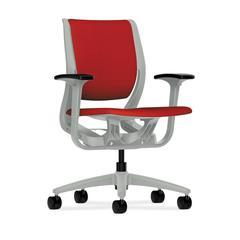 HON Purpose Mid-Back Chair | YouFit Flex Motion | Adjustable Arms | Platinum Shell | Platinum Base | Tomato Fabric