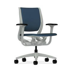 HON Purpose Mid-Back Chair | YouFit Flex Motion | Adjustable Arms | Platinum Shell | Platinum Base | Jet Fabric