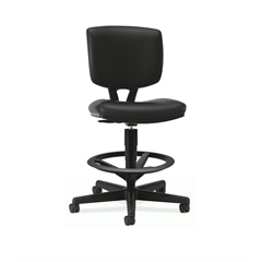 Volt Task Stool | Extended Height, Footring | Black SofThread Leather