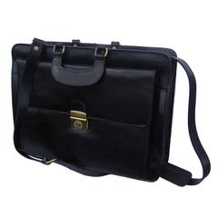 Lockable Front Flap Top Zip Black Leather Briefcase