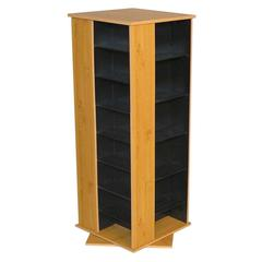 Revolving Media Tower 800, 19-1/4 x 19 x 50, Oak/Black