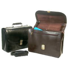 Key Locking Leather Flapover Executive Case with Computer Slot