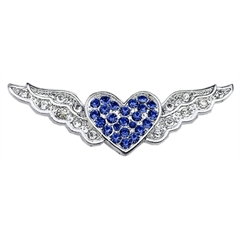 """Mirage Pet Products 3/8"""" Slider Aviator Charm Blue Heart 3/8"""""""