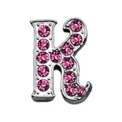 "Mirage Pet Products 3/8"" Pink Script Letter Sliding Charms K ."