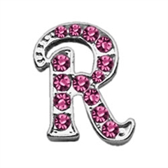 "Mirage Pet Products 3/8"" Pink Script Letter Sliding Charms R ."