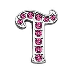 "Mirage Pet Products 3/8"" Pink Script Letter Sliding Charms T ."