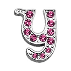 "Mirage Pet Products 3/8"" Pink Script Letter Sliding Charms Y ."