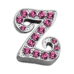 "Mirage Pet Products 3/8"" Pink Script Letter Sliding Charms Z ."