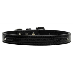 """Mirage Pet Products 3/8"""" (10mm) Faux Croc Two Tier Collars Black Medium"""