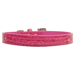 "Mirage Pet Products 3/8"" (10mm) Faux Croc Two Tier Collars Pink Small"