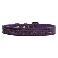 """Mirage Pet Products 3/8"""" (10mm) Faux Croc Two Tier Collars Purple Medium"""