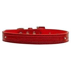 "Mirage Pet Products 3/8"" (10mm) Faux Croc Two Tier Collars Red Medium"