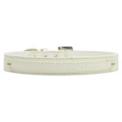 "Mirage Pet Products 3/8"" (10mm) Faux Croc Two Tier Collars White Small"
