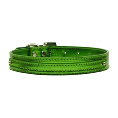 "Mirage Pet Products 3/8"" (10mm) Metallic Two Tier Collar Emerald Green Large"