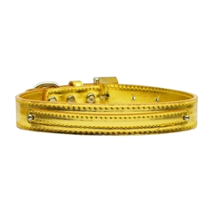 "Mirage Pet Products 3/8"" (10mm) Metallic Two Tier Collar Gold Small"
