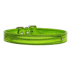 "Mirage Pet Products 3/8"" (10mm) Metallic Two Tier Collar Lime Green Large"