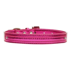 "Mirage Pet Products 3/8"" (10mm) Metallic Two Tier Collar Pink Medium"