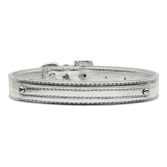 "Mirage Pet Products 3/8"" (10mm) Metallic Two Tier Collar Silver Large"