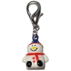 Mirage Pet Products Hand Painted Christmas Bell Charm Snowman